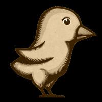 woodprint twitter bird sepia small